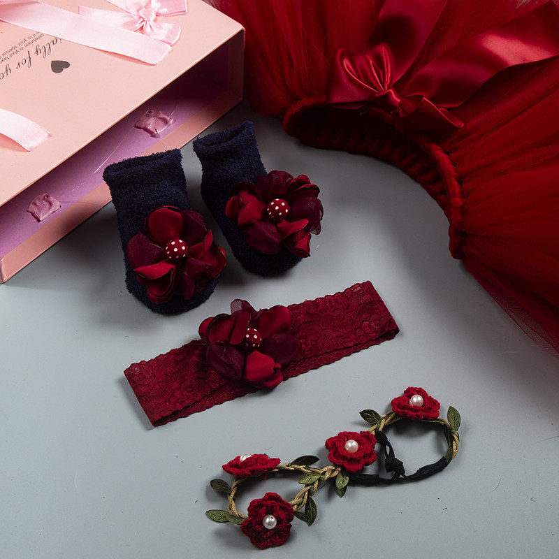 Spring and summer wine red set gift box hot sale, childrens gift jewelry photography, pengpeng skirt, hair and socks, childrens new