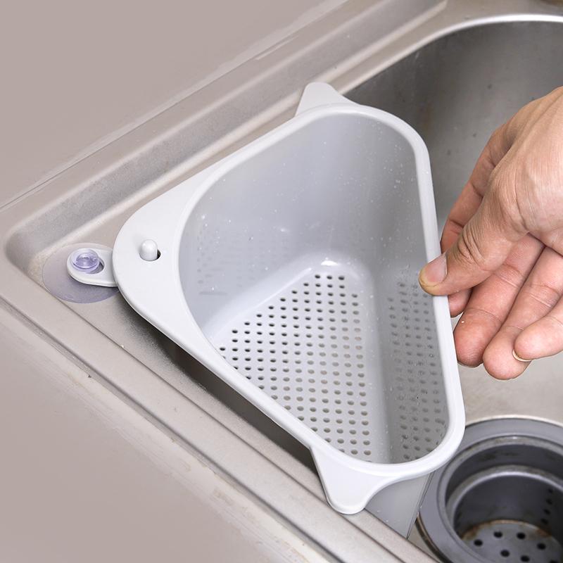 厨房水槽沥水篮洗菜装水果盆三角残余垃圾过滤篮洗碗池收纳挂篮架