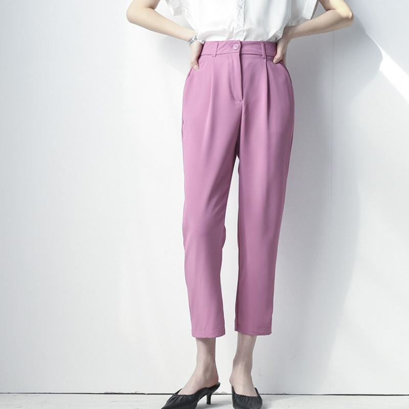 Smoke pipe suit pants high waist sagging Casual Pants Capris childrens loose straight tube 2020 new look thin and versatile summer