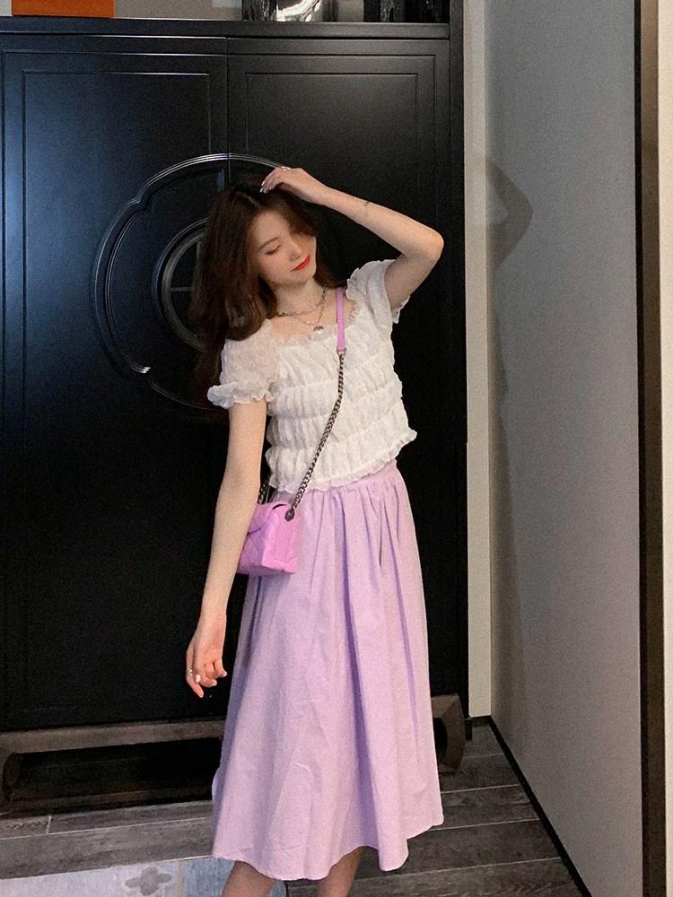 菡薇妮2020年新款半身裙女夏季高腰百搭A字裙显瘦子中长款百褶裙