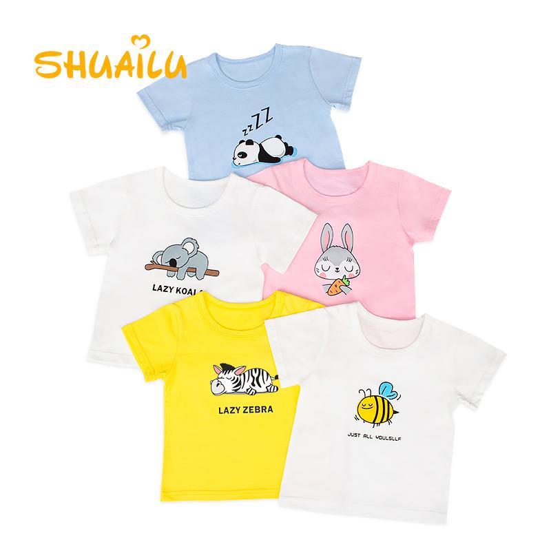 儿童T恤女童纯棉半袖男童夏季透气薄上衣卡通小中童夏装家居童装