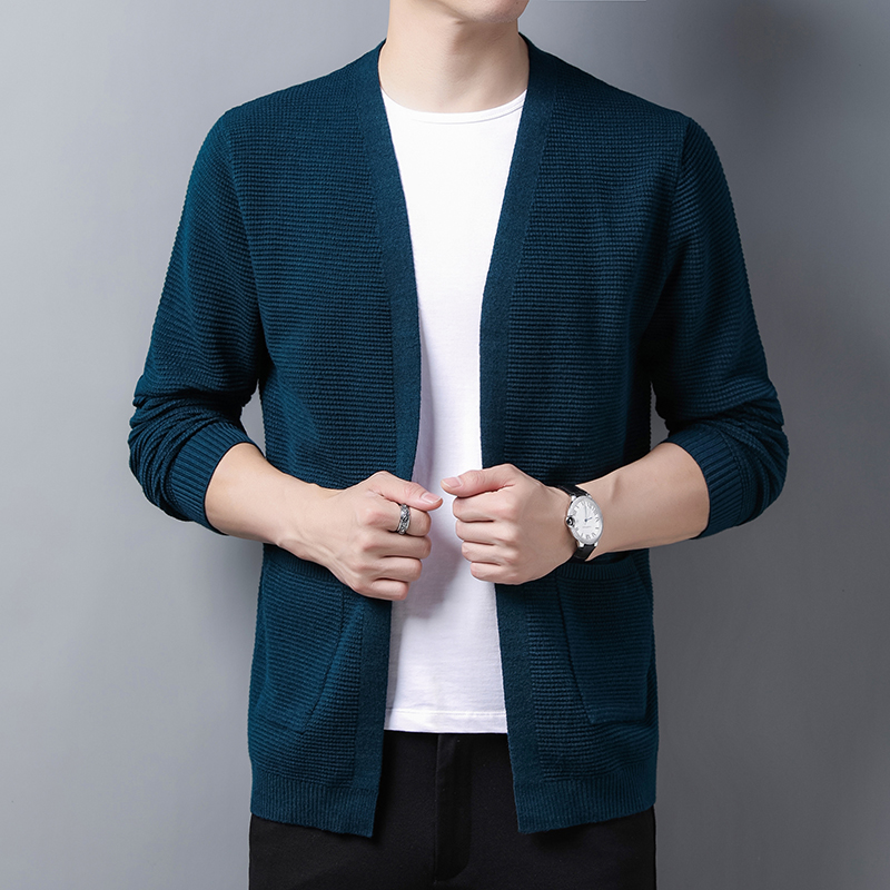 Cardigan mens sweater coat spring long sleeve business casual mens sweater spring and autumn solid color loose and handsome sweater