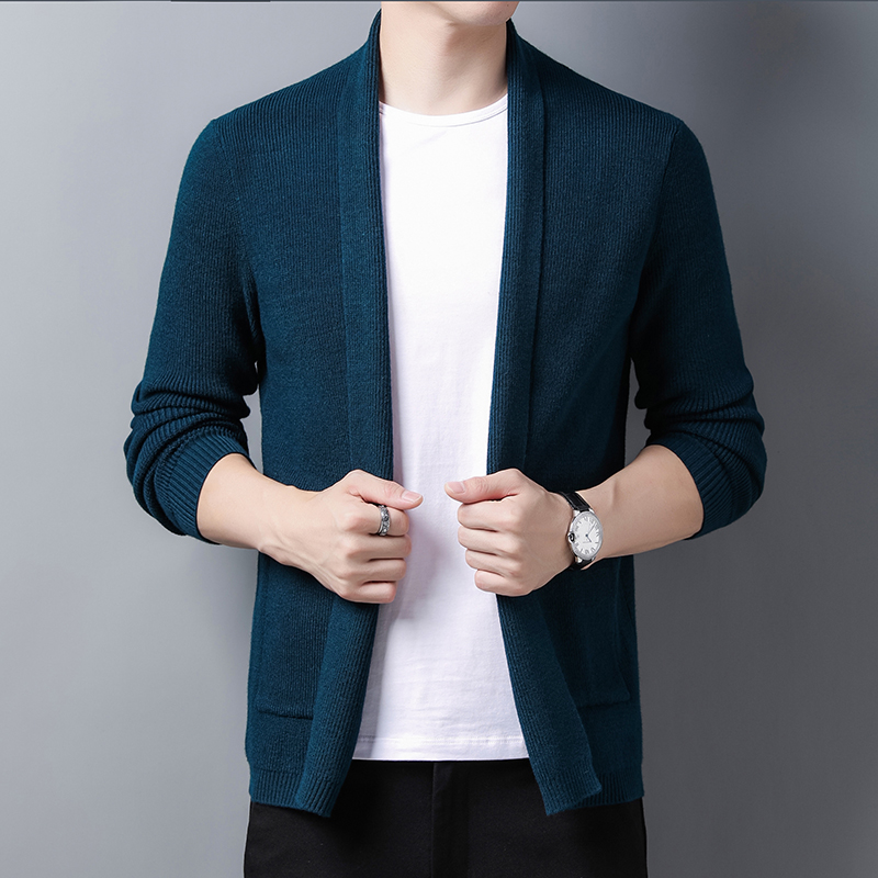 2020 new style cardigan mens spring and autumn leisure solid color mens sweater knitted cardigan mens medium length Korean jacket