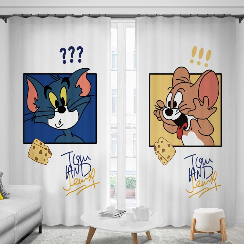 儿童窗帘可爱和老鼠男孩女孩卧室小孩房间隔热遮阳挡风遮光
