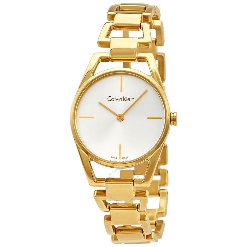 Calvin Klein Kevin Klein CK watch female 30mm transparent steel band small gold watch k7l235462