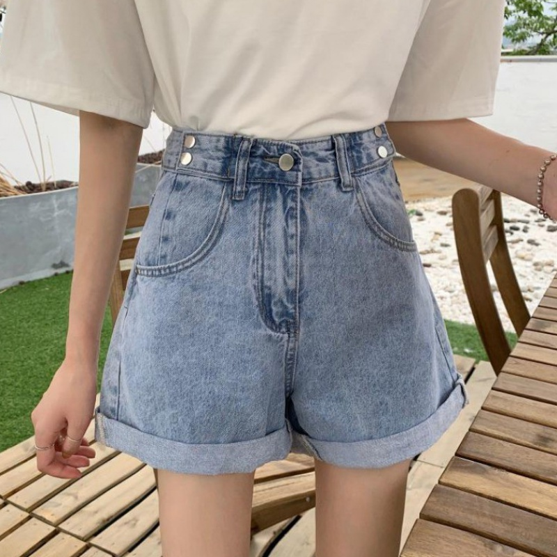 2020 summer new Korean rolled edge denim shorts high waist elegant pants loose and versatile wide leg hot pants for women