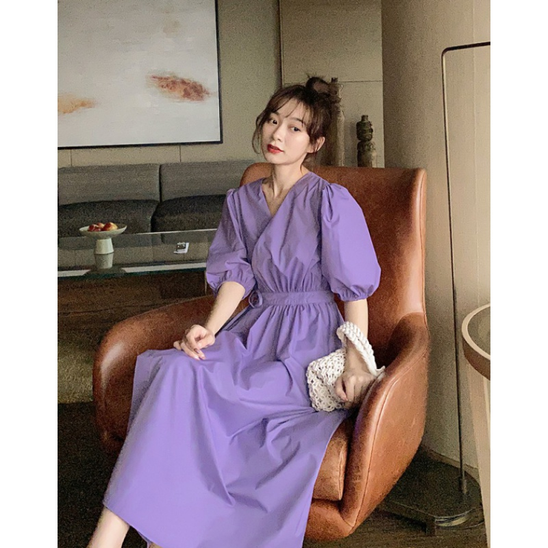 Purple dress womens summer dress 2020 new waist slim bubble sleeve French retro fairy long skirt