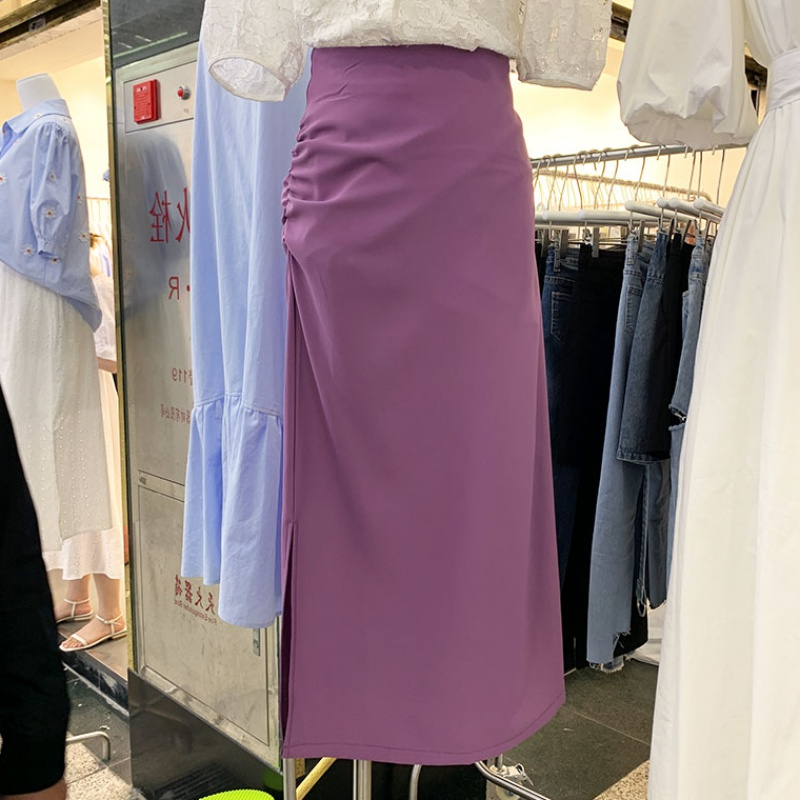 2020 side slit suit skirt drape skirt half skirt womens summer mid length high waist one step skirt new slim skirt