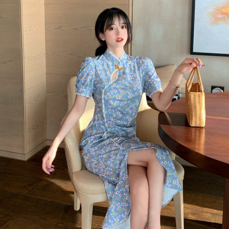 Summer 2020 New Retro Chinese fragmentary flower improved small cheongsam slit length dress