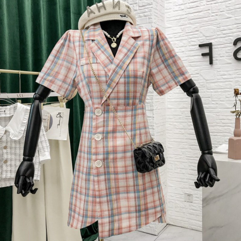 Plaid suit collar dress for women 2020 summer new Korean version with waistband showing thin and irregular skirt in contrasting colors