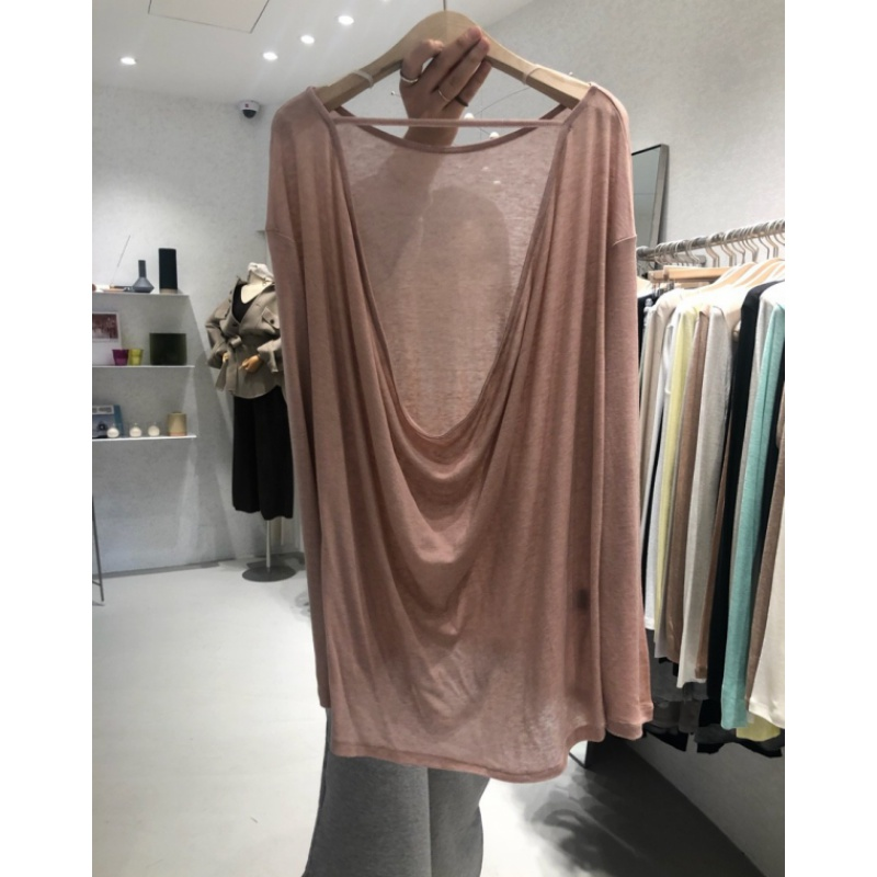 Korean spring and summer 2020 new womens solid color wide truffle back with Long Sleeve T-Shirt Top