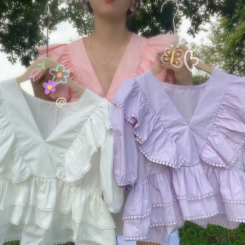 New French Style Bubble Sleeve baby shirt in summer 2020