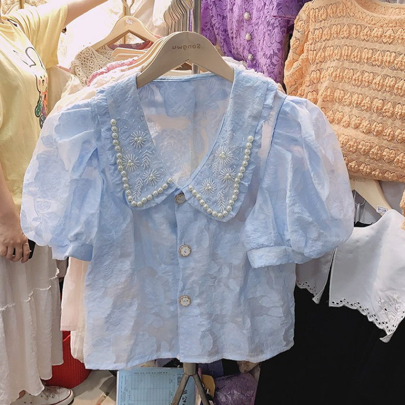 Temperament shirt woman 2020 summer French bubble sleeve Lace Baby collar pin bead Embroidered Shirt Short Sleeve Top Fashion