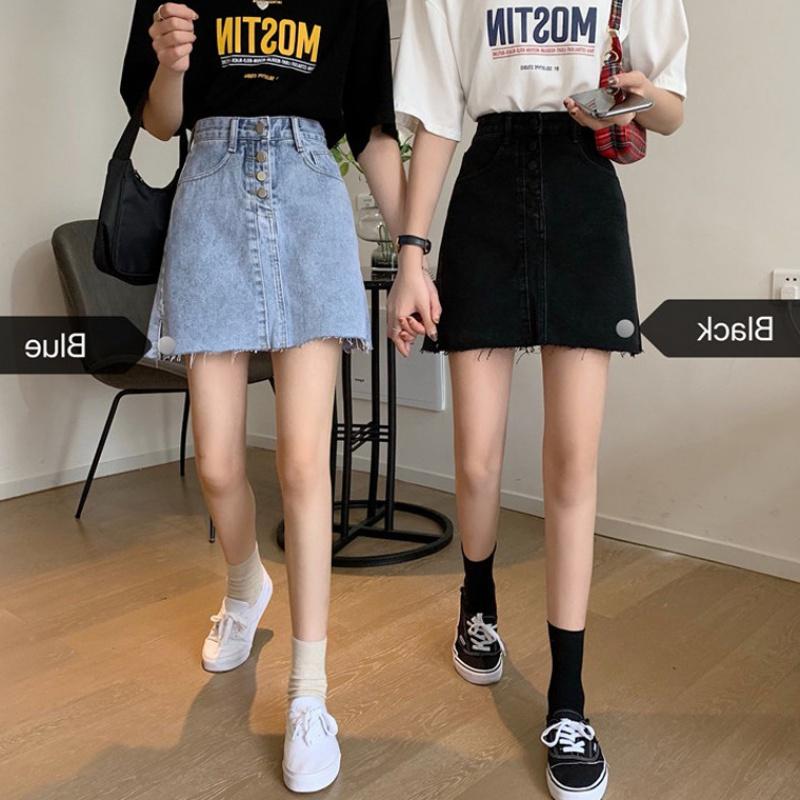 Summer 2020 new Korean version of Yafeng high waist A-line denim skirt womens black buttock skirt looks thin