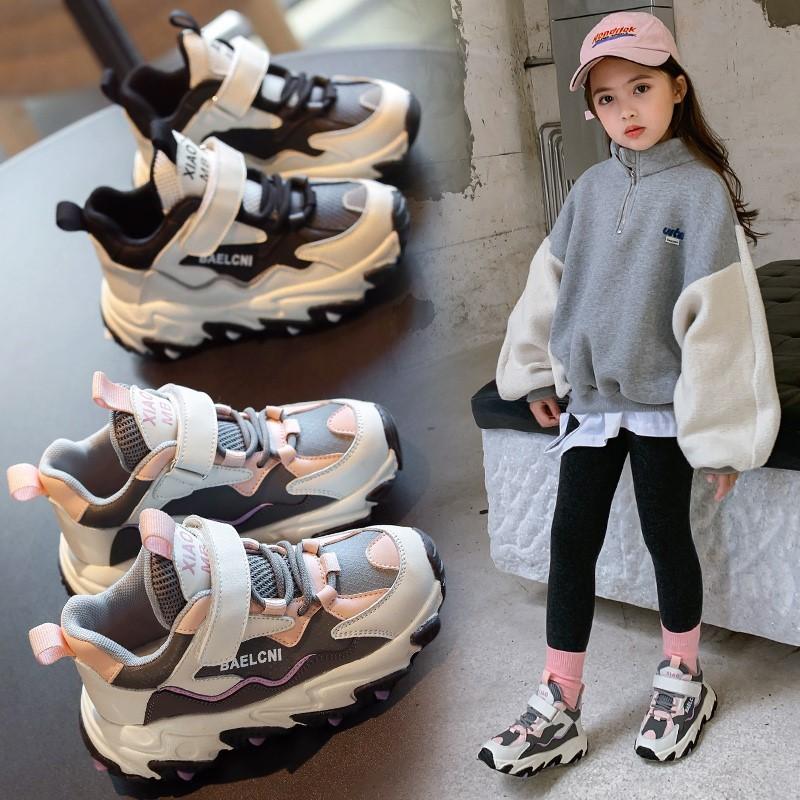 女童鞋运动鞋2020年秋冬款新款百搭鞋子男童儿童二棉加绒老爹鞋潮
