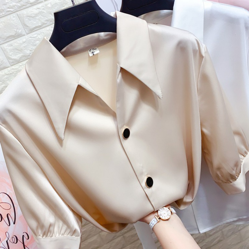 Hong Kong Style sharp Lapel silk satin short sleeve shirt womens loose and slim ol professional chiffon shirt bottoming top