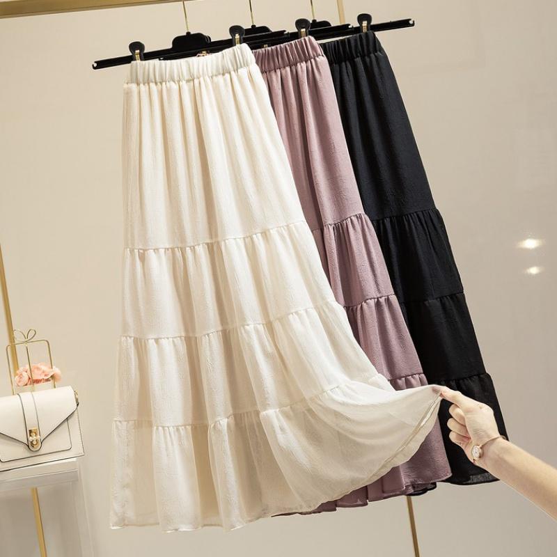 High waisted chiffon skirt womens 2020 summer Korean style A-line skirt showing thin cake skirt bottom medium length skirt