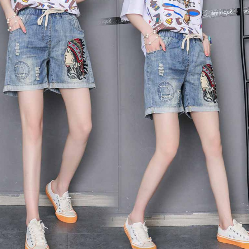 200 kg womens large Jeans Shorts fat women show thin elastic waist hot pants summer fat sister loose wide leg pants