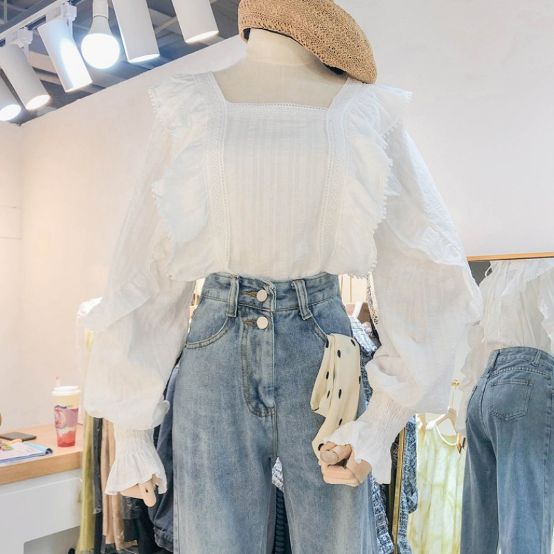 New design in spring 2020: a small number of Korean long sleeve loose white shirt