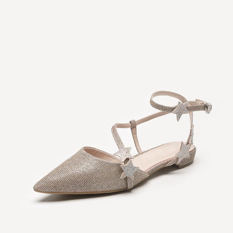 小CK女鞋2020夏季新款网红仙女风尖头单鞋星星带钻平底罗马凉鞋女