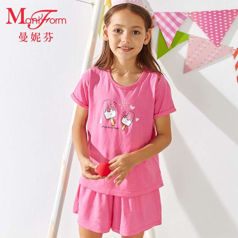 Manifen girls short sleeve T-shirt childrens cotton top pajamas home top childrens clothing 20310581