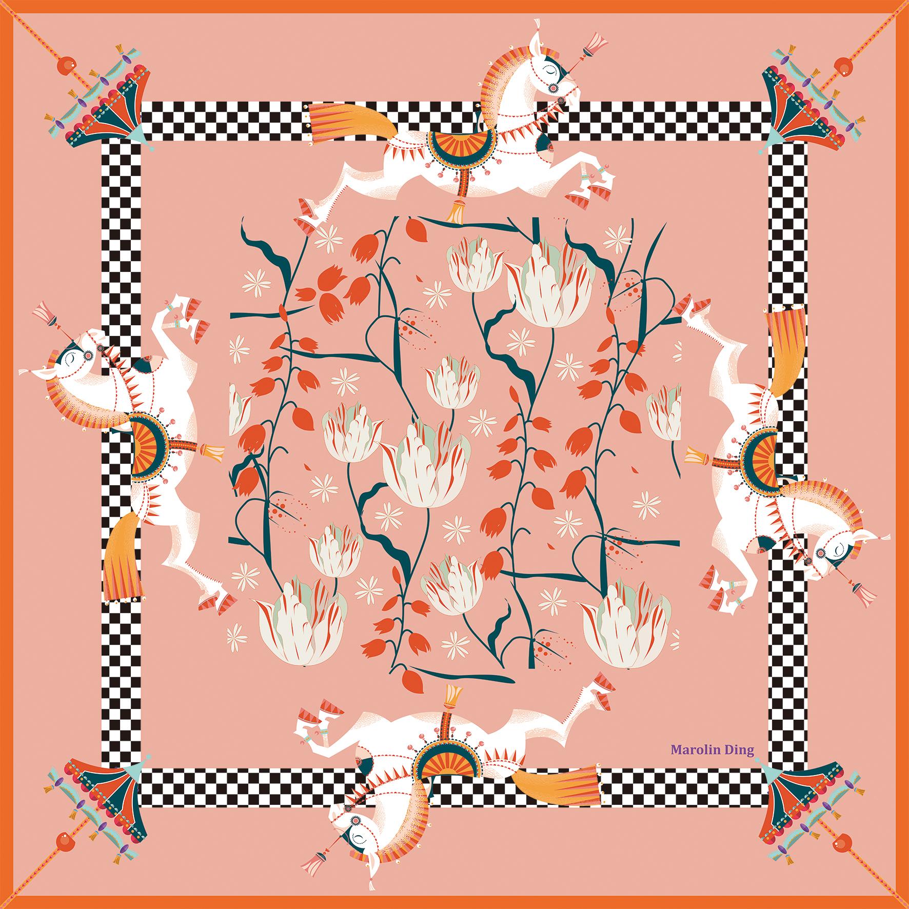 马主题独家设计师Marolin Ding 马图案百分百桑蚕丝丝巾围巾时尚