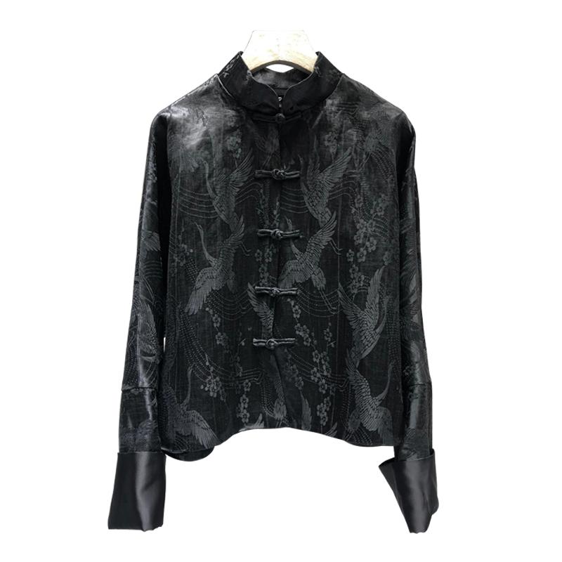Spring new Chinese style short mandarin jacket C loose drag fashion heavy silk linen Satin Jacquard disc buckle coat