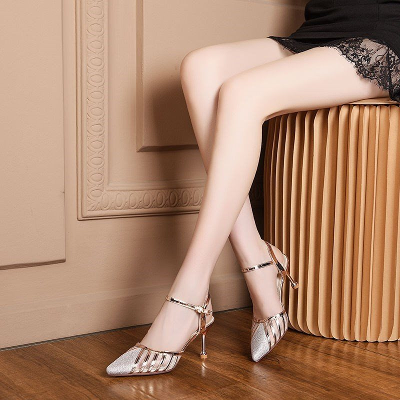 Half fashionable womens shoes + middle heel 2020 summer new thin heel sandals womens pointed one-line buckle high heels