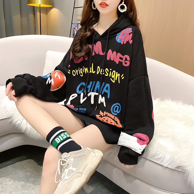 Womens sweater 2021 spring new Korean version loose medium length hooded BF lazy student casual coat