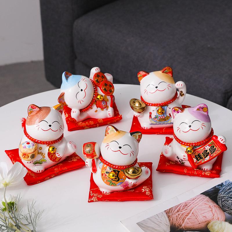 招财猫小摆件小号创意陶瓷存钱罐家居客厅办公桌店铺开业装饰礼品