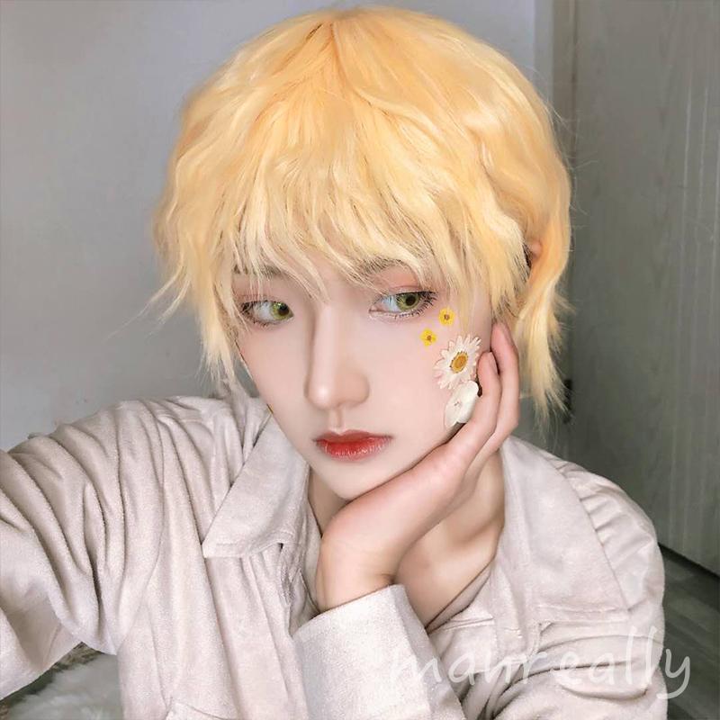 Genuine Manzhen Wig Mens and womens short hair straight hair curly hair cos versatile nature Lolita handsome soft girl zhengtaiji