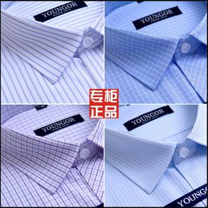 特价官方雅戈尔衬衫男短袖白色衬衣纯棉免烫商务正装格子条纹工装