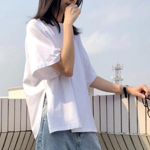 春夏装新款港味侧边开叉休闲纯棉白色短袖T恤百搭半袖上衣i