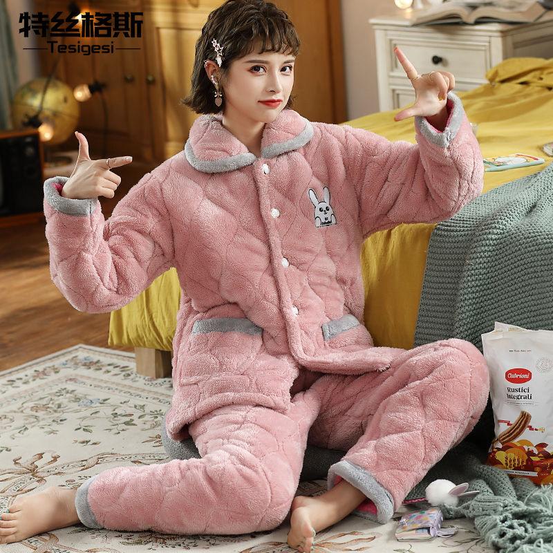 睡衣女冬季加厚珊瑚绒可爱卡通棉袄三层夹棉保暖法兰绒家居服套装