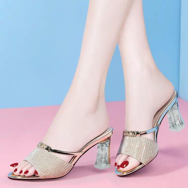 高跟拖鞋女外穿2020夏季新款韩版时尚粗跟性感露趾水钻凉拖鞋
