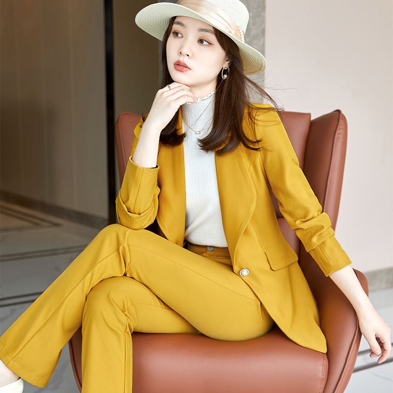 2021 autumn and winter new womens fashion capable slim fit suit trousers Lapel fashion suit two-piece set
