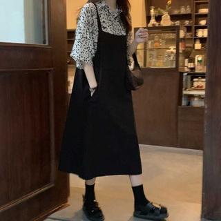 大码女装秋2020年新款胖mm心机洋气背带连衣裙子减龄两件套装显瘦