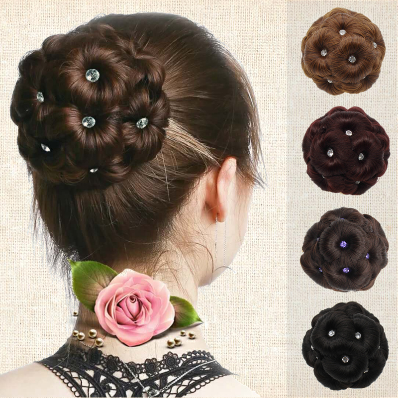 Nine flower hair, Baotou flower etiquette, curly hair, flower upgrading, with drill grip wig, female ball head, hair curler