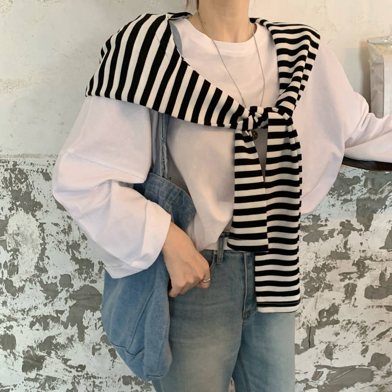 Autumn Korean stripe hoodie with cap, shawl, knot, scarf, tie, small shawl, sleeve and shoulder mock collar