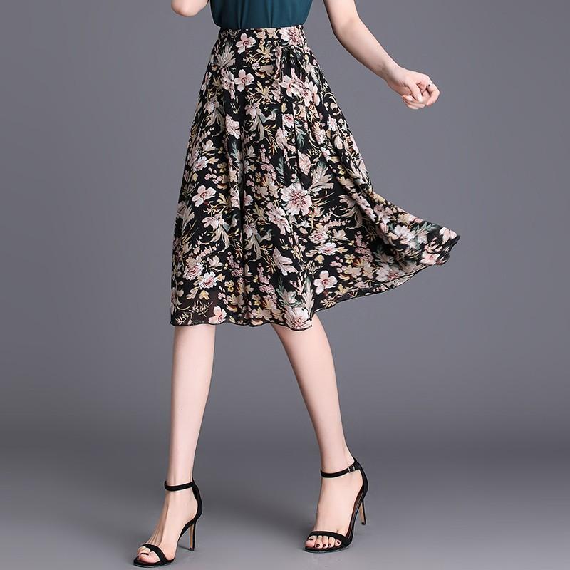 Floral skirt loose wide leg pants 2020 new big foot high waist chiffon skirt pants womens summer drop five point short pants