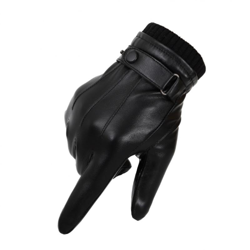 寒区摩托五指韩版滑雪男式时尚电动车触屏手套加绒电车防雨连指。