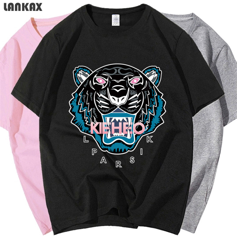 Fashion brand Japanese tiger head short sleeve t-shirt mens and womens cotton loose Sports Top couples parent-child clothes summer Hong Kong Style ins