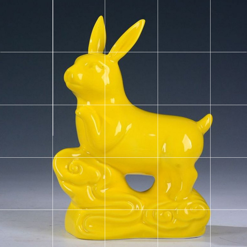 Yellow rabbit, snake, ceramic cattle, housewarming, large and small opening, ceramic dog ornaments
