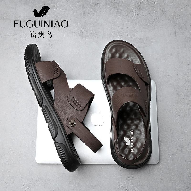 Fugui bird summer sandals men's leather leather new casual soft bottom beach shoes outside driving two cool slippers