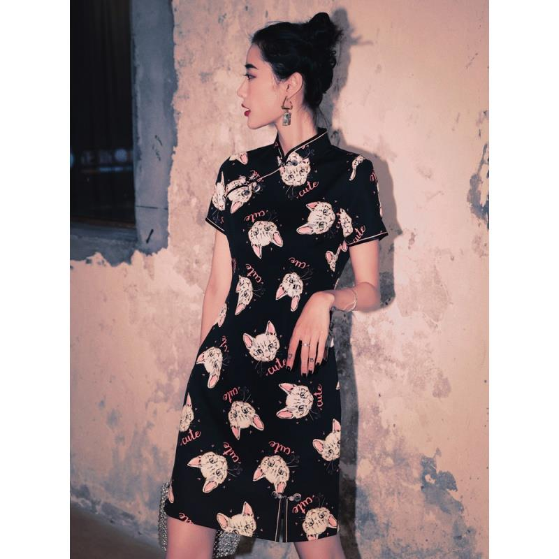 Aishangni fashion improved cheongsam dress lovely and sweet daily life dress young girl Chinese style