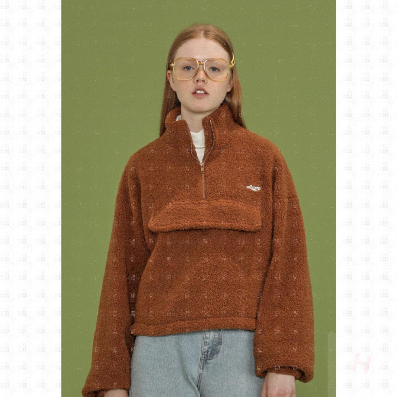 square houlest羔羊毛刺绣加厚短外套夹克衫2019新品小个子上衣