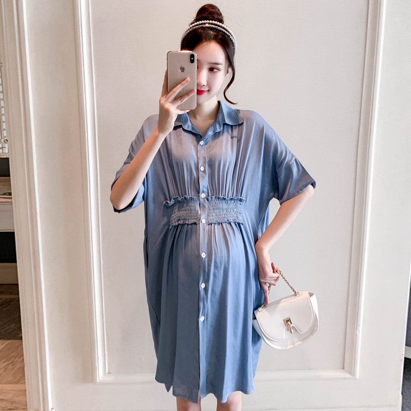 Pregnant womens summer clothes 2021 short sleeve shirt skirt Korean version summer medium and long loose cover belly trendy mother fashion dress