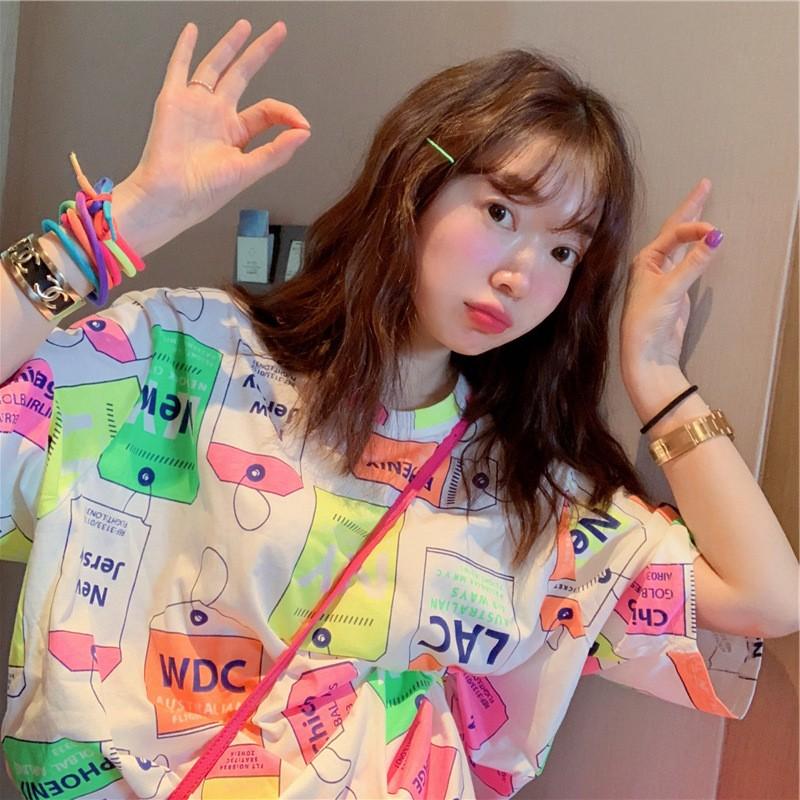 现货新品春夏波拉韩国东大门设计感彩色标签半袖元气T恤佰搭显瘦