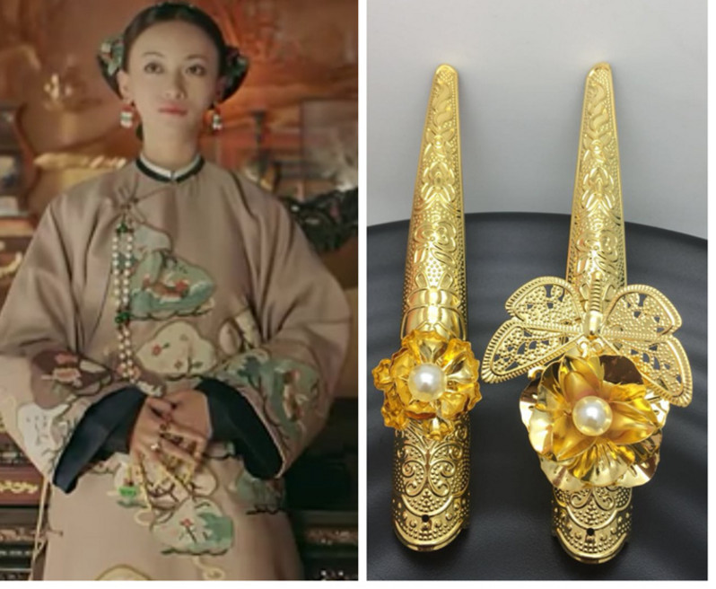 Yanxi introduction: Ruyi pass on the same style of Princess Xians ancient armor, court ring ring, cos shaped fake nail set