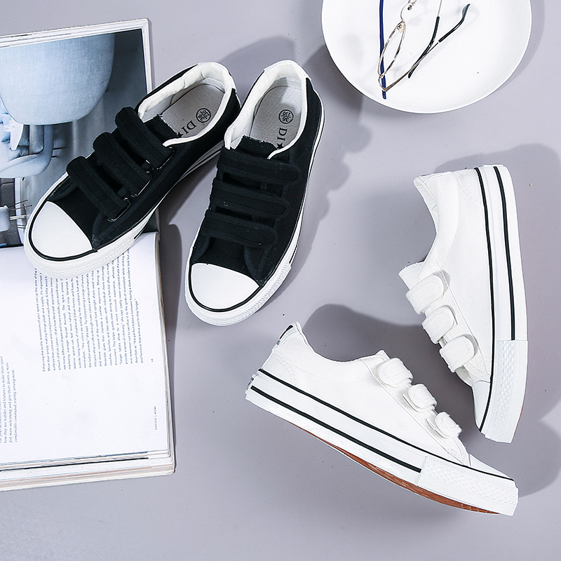 Student couple shoes buckle Velcro boy canvas shoes junior high school students cloth shoes casual buckle girl